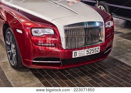 Luxury Car Rolls Royce Wraith Next To Dubai Mall