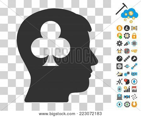 Gambling Addiction Patient icon with bonus bitcoin mining and blockchain clip art. Vector illustration style is flat iconic symbols. Designed for blockchain software.