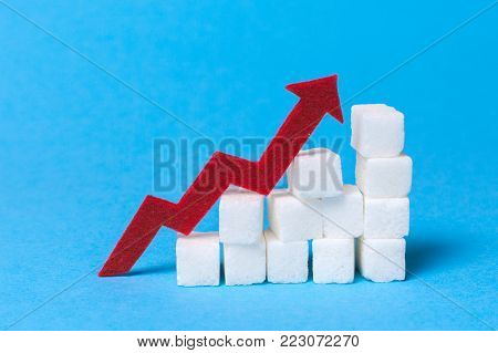 Increase the sugar content in the cow. Diabetes. Stair of sugar cubes and a red arrow up on a blue background.
