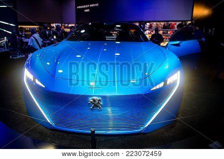 Paris , France-September 27, 2017: Peugeot instinct car concept in France Paris. Peugeout is famoust franch car brand