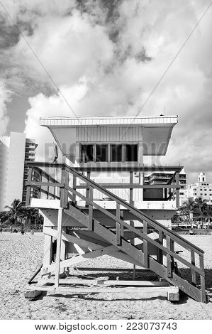 Lifeguard Tower, Wooden Colorful Station, On Sand, Sandy Beach, Tropical Palm Resort, On Sunny Day O