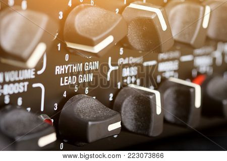 Close up Detail of guitar amplifier background