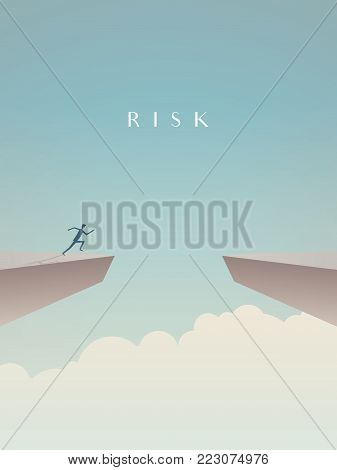 Business risk concept vector with businessman jumping over gap. Symbol of courage, success, motivation, ambition. Eps10 vector illustration.