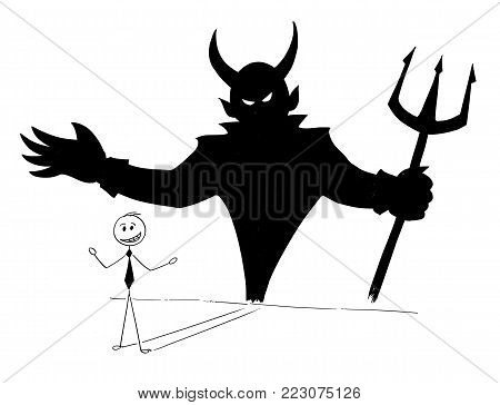 Cartoon stick man drawing conceptual illustration of businessman and his devil inside shadow on the wall. Business concept of success and self inconsiderateness.