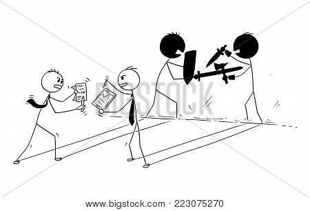 Cartoon stick man drawing conceptual illustration of two businessmen arguing and their shadow sword fighting. Business concept of problem discussion.