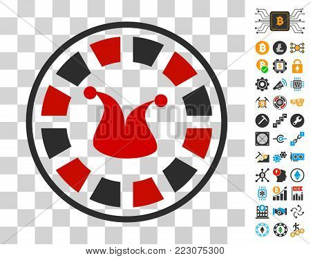 Joker Roulette icon with bonus bitcoin mining and blockchain icons. Vector illustration style is flat iconic symbols. Designed for blockchain ui toolbars.