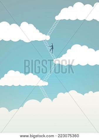 Business corporate ladder climbing vector concept. Businessman moving up between clouds, symbol of motivation, ambition, achievement. Eps10 vector illustration.