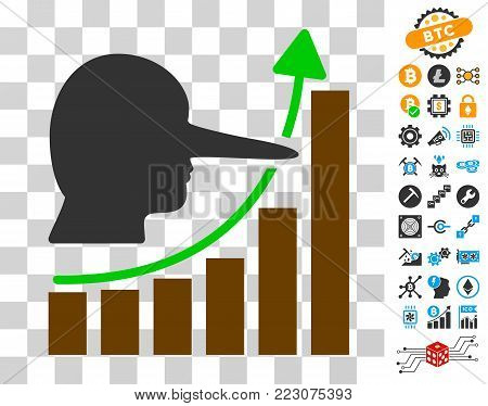 Lier Hyip Chart pictograph with bonus bitcoin mining and blockchain symbols. Vector illustration style is flat iconic symbols. Designed for crypto currency apps.