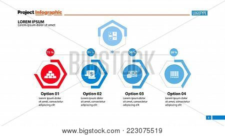 Four options workflow slide template. Business data. Graph, chart, design. Creative concept for infographic, report. Can be used for topics like banking, investment, assets