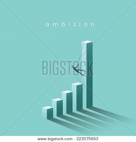 Ambition vector concept with businessman climbing on graph columns. Success, achievment, motivation business symbol. Eps10 vector illustration