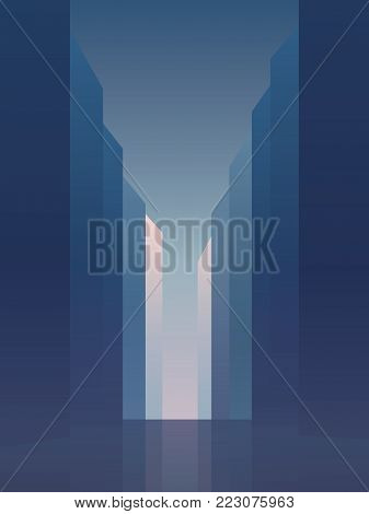 City street with high rise skyscrapers vector background. Symbol of corporate downtown, commercial district with banks and institutions. Eps10 vector illustration.