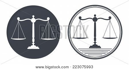 Libra, judicial scales logo. Notary, justice, lawyer icon or symbol vector illustration