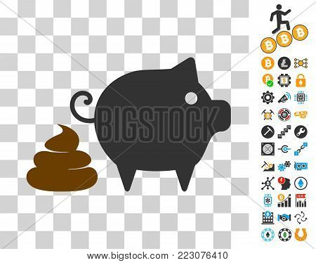 Pig Shit pictograph with bonus bitcoin mining and blockchain pictographs. Vector illustration style is flat iconic symbols. Designed for crypto currency ui toolbars.