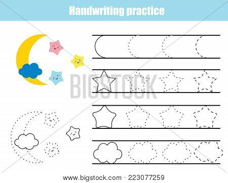 Handwriting Practice Sheet. Educational Children Game, Printable Worksheet  For Kids. Writing Training Printable