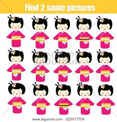 Find the same pictures children educational game. Find equal pairs of kokeshi dolls kids activity.