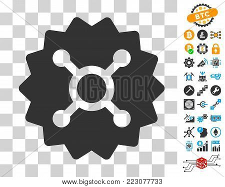 Roulette Token pictograph with bonus bitcoin mining and blockchain pictographs. Vector illustration style is flat iconic symbols. Designed for cryptocurrency ui toolbars.