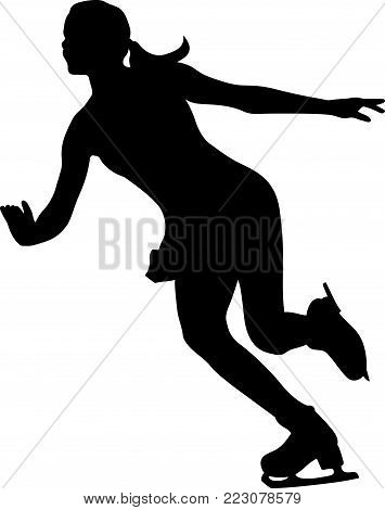 silhouette woman skater ice dancing figure skating