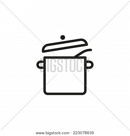 Icon of cooking pot. Utensil, dish, equipment. Cooking concept. Can be used for topics like household, kitchen, utensil.