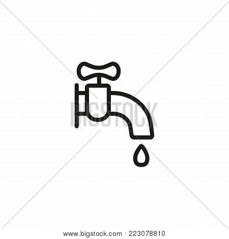 Icon of faucet with drop of water. Bathroom, water pipe, wash sink. Facilities concept. Can be used for topics like housekeeping, facilities, hotel service