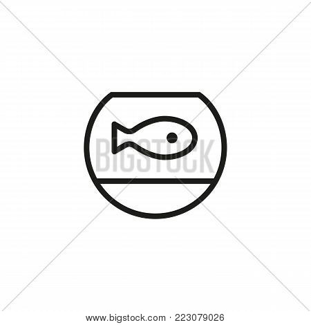 Icon of fish in aquarium. Pet, seafood, fresh. Fish concept. Can be used for topics like food store, pet shop, sea food.
