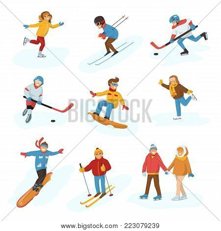 Winter vector sport activity people games cartoon boys and girls fun cold sportsmen wintertime happy illustration isolated vacation people holiday sport activity ski, sky, hockey and snowboard.