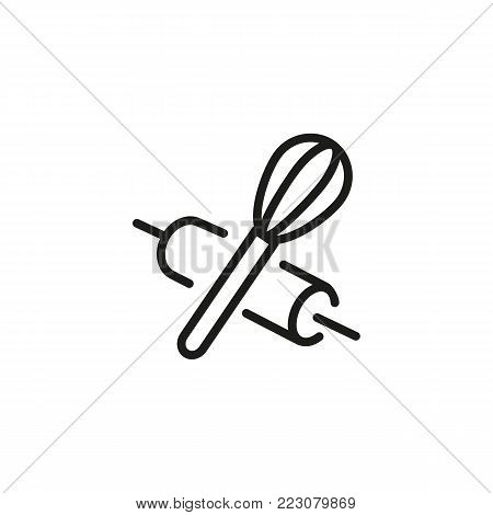 Icon of rolling pin and whisk. Utensil, tool, equipment. Cooking concept. Can be used for topics like household, kitchen, bakery.