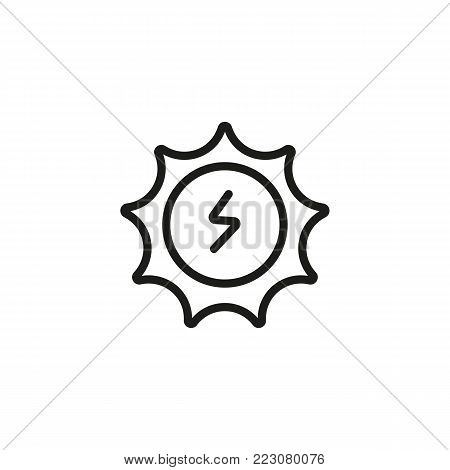 Icon of sun energy symbol. Sunlight, lightning, electricity. Alternative energy concept. Can be used for topics like environment, electricity, ecology