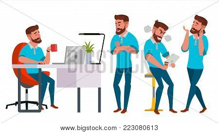 Business Man Character Vector. Working Boy, Man. Environment Process In Start Up Office, Studio. Casual Clothes. Programmer, Designer. Isolated On White Cartoon Business Character Illustration