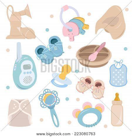 Background, texture, backdrop, pattern, wallpaper with children cartoon doodle flat toys. Kids illustration