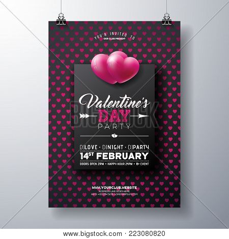 Vector Valentines Day Party Flyer Design with Typography on Red Heart Pattern Background. Premium Celebration Poster Template for Invitation or Greeting Card