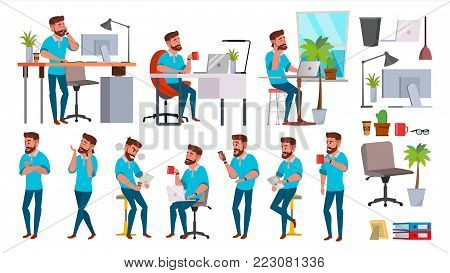 Business Man Character Vector. Working People Set. Office, Creative Studio. Bearded. Full Length. Programmer, Designer, Manager. Different Poses Face Emotions Business Character Illustration