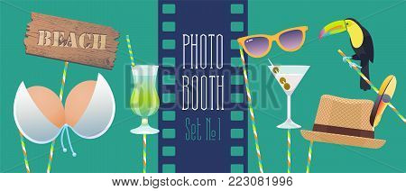 Photo booth props collection for birthday or tropical party vector illustration. Funny icons for hat, glasses, cocktails and other celebration elements for making hipster style photo booth collage