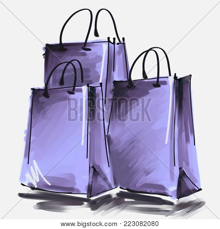 art digital acrylic and watercolor painted three lilac shopping bags isolated on white background with space for text and label; colorful 3d