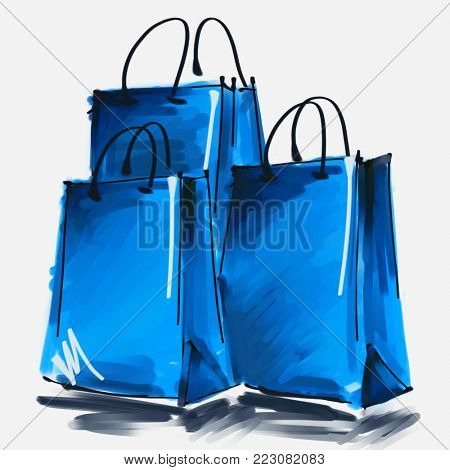 art digital acrylic and watercolor painted three blue shopping bags isolated on white background with space for text and label; colorful 3d