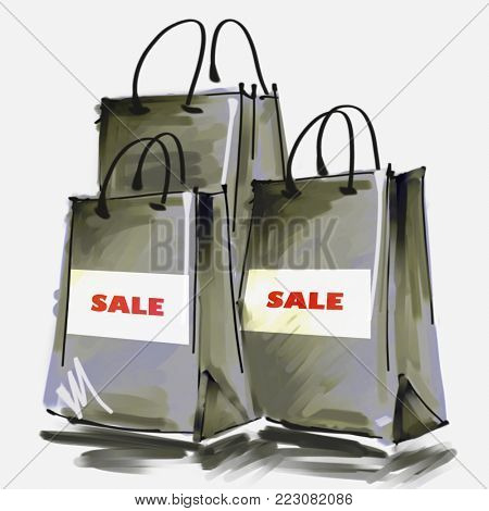 art digital acrylic and watercolor painted three grey shopping bags isolated on white background with label Sale; monochrome 3d