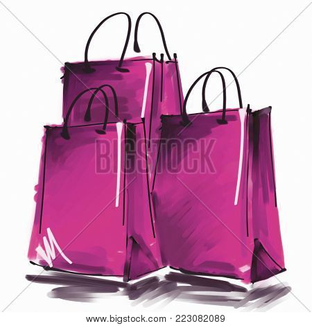 art digital acrylic and watercolor painted three fuchsia shopping bags isolated on white background with space for text and label; colorful 3d