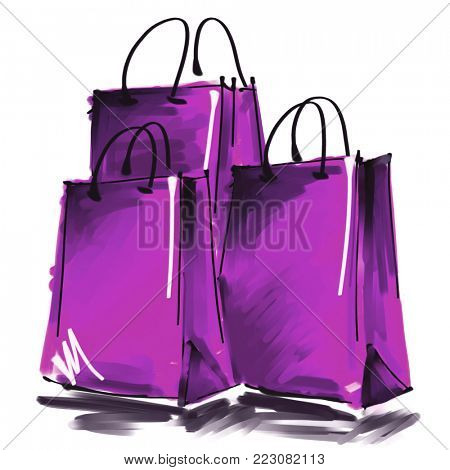 art digital acrylic and watercolor painted three blue lilac shopping bags isolated on white background with space for text and label; colorful 3d