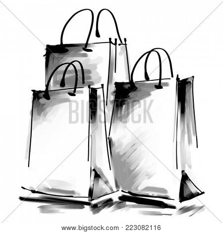 art digital acrylic and watercolor painted three white shopping bags isolated on white background with space for text and label; monochrome 3d