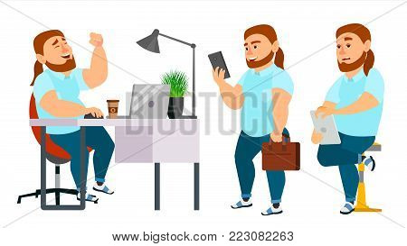Business Man Character Vector. Working Boy, Man. Team Room. Brainstorming. Environment Process In Start Up Office. Programmer, Designer. Isolated On White Cartoon Business Character Illustration
