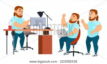 Business Man Character Vector. Working Male. IT Startup Business Company. Environment Process. Clothes. Full Length. Programmer, Manager. Expressions. Flat Cartoon Business Character Illustration