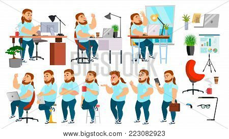 Business Man Character Vector. Working People Set. Office, Creative Studio. Fat, Bearded. Business Situation. Programmer, Designer Manager Different Poses Emotions Cartoon Illustration