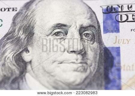 Background Of One Hundred Dollar Bills, Macro Shot Of One Hundred Dollars Bill