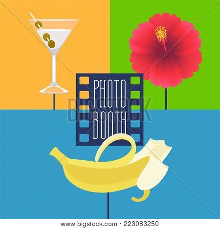 Photo booth printable props collection for tropical party vector illustration. Funny icons for banana, cocktails and flower for making exotic style photo booth collage