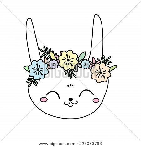 Cute rabbit. Kawaii Bunny. Sweet little Hare. Cartoon animal face for kids, toddlers and babies fashion. Easter rabbit with flowers