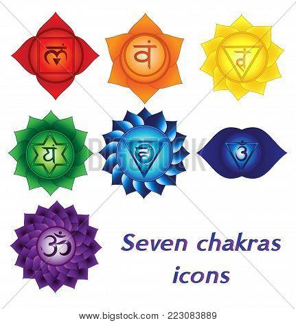 Seven chakras icons. Colorful spiritual tattoos. Kundalini yoga symbols