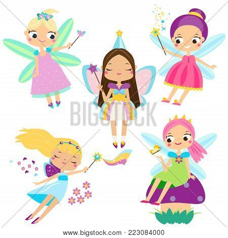 Cute Fairy set. Beautiful girl in fying fairy costumes. Funny winged elf princesses in cartoon style. Vector illustration for kids and babies
