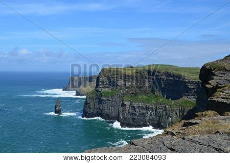 County Clare landscape of the cliffs of moher and galway bay