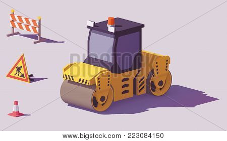 Vector low poly yellow road roller or asphalt compactor with road works signs