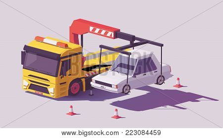 Vector low poly yellow tow truck or wrecker towing the car away
