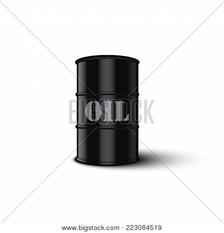 Oil barrel isolated on white background. Vector illustration